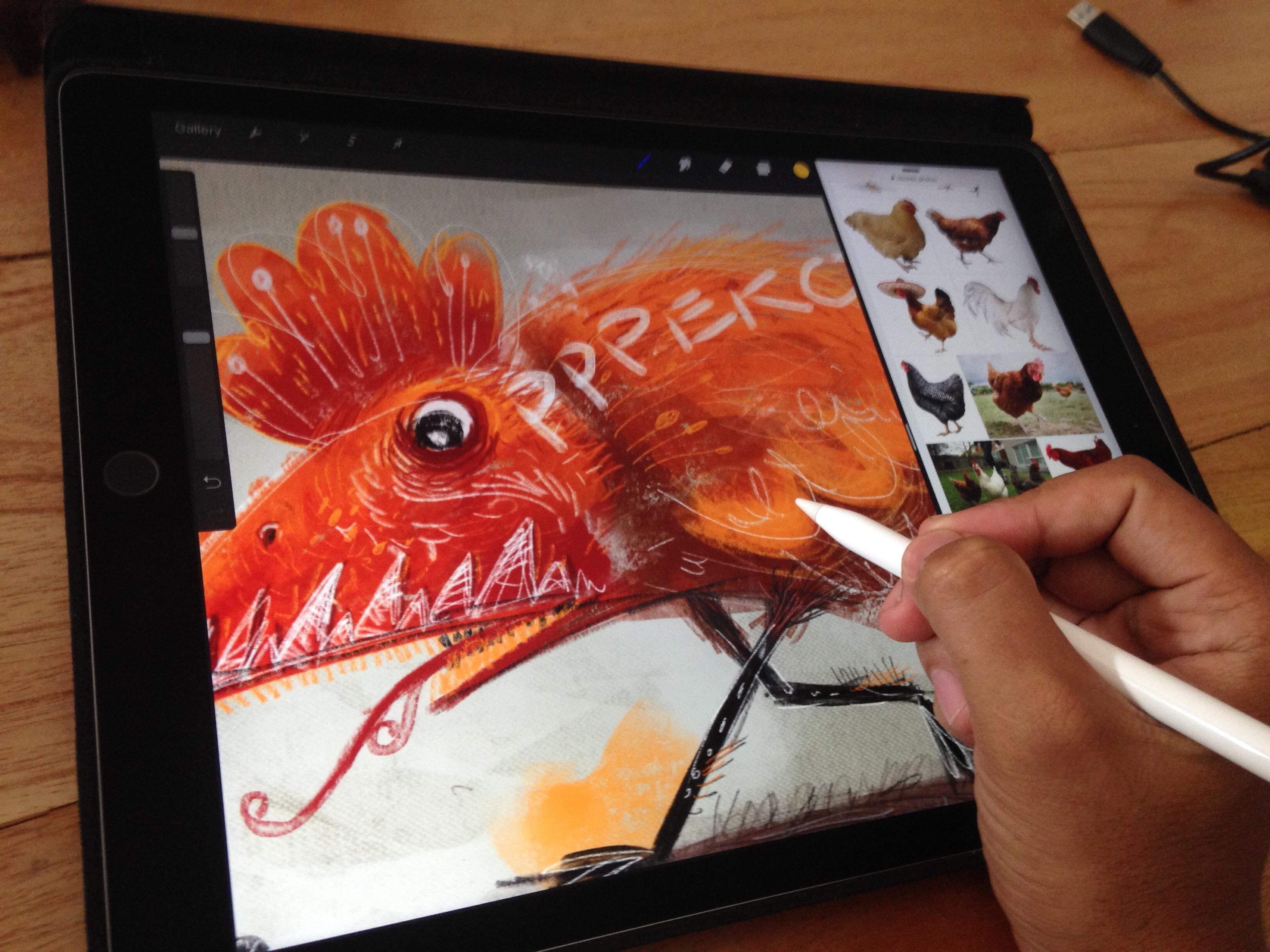 Menggambar bisa sambil buka refrensi di safari.
